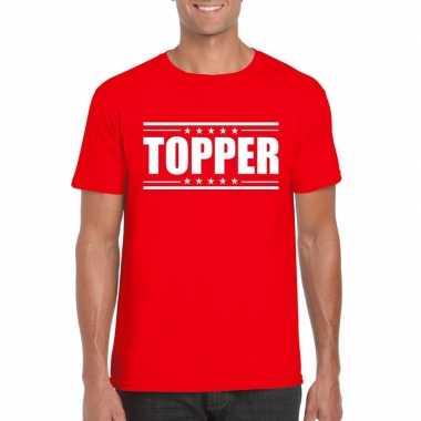 Rood t shirt heren tekst topper