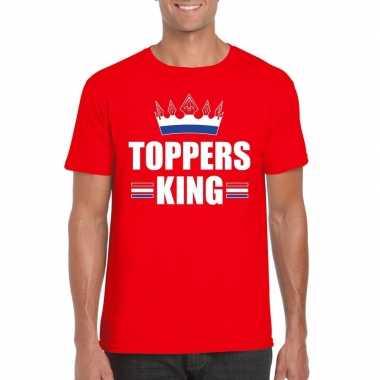 Rood t shirt heren tekst toppers king