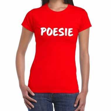 Rood t shirt poesie dames