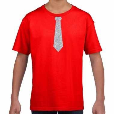 Rood t shirt zilveren stropdas kinderen