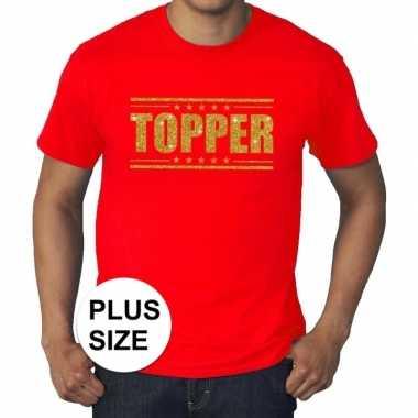Rood topper grote maten t shirt gouden glitter letters heren