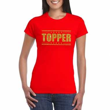 Rood topper shirt gouden glitter letters dames