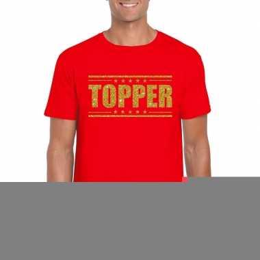 Rood topper shirt gouden glitter letters heren