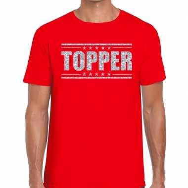 Rood topper shirt zilveren glitter letters heren