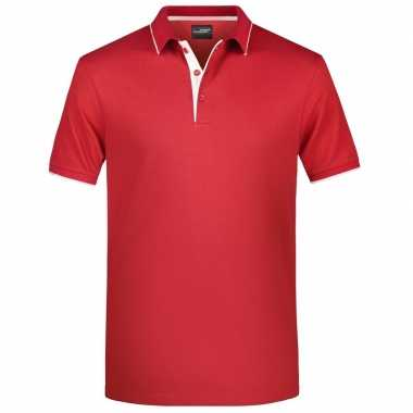 Rood/wit premium poloshirt golf pro heren