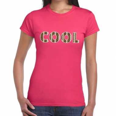 Roze cool slangenprint fun t shirt dames