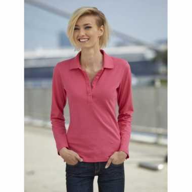 Roze dames poloshirt lange mouw