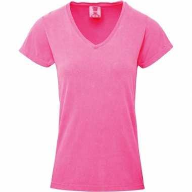 Roze dames t shirts v hals
