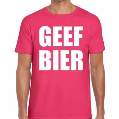Roze geef bier fun t shirt heren