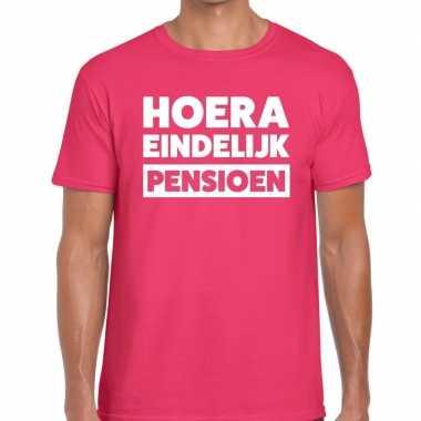 Roze hoera eindelijk pensioen fun t shirt heren