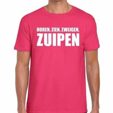Roze horen zien zwijgen zuipen fun t shirt heren