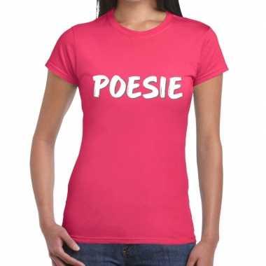 Roze poesie shirt dames