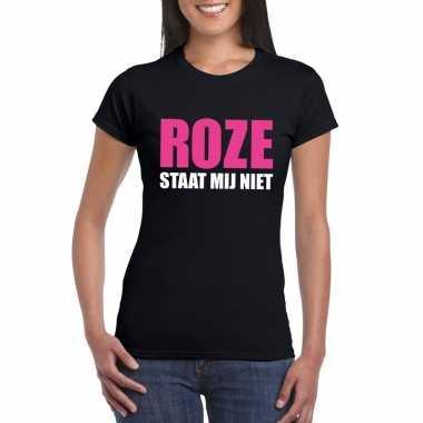 Roze staat mij niet fun t shirt dames zwart