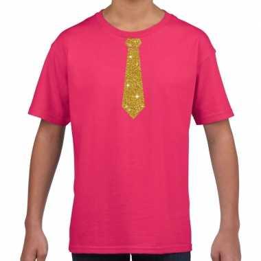 Roze t shirt gouden stropdas kinderen