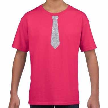 Roze t shirt zilveren stropdas kinderen