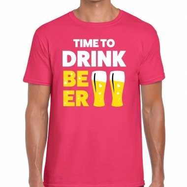 Roze time to drink beer fun t shirt heren