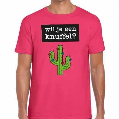 Roze wil je een knuffel fun t shirt heren