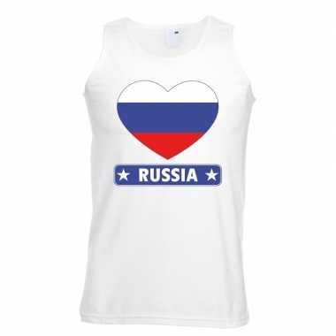 Rusland hart vlag mouwloos shirt wit heren