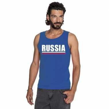 Rusland supporter mouwloos shirt/ tanktop blauw heren