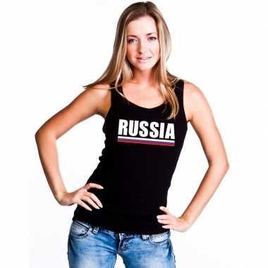 Rusland supporter mouwloos shirt/ tanktop zwart dames