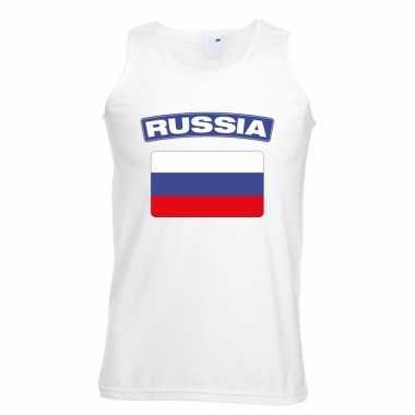 Rusland vlag mouwloos shirt wit heren