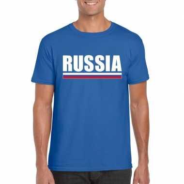 Russische supporter t shirt blauw heren
