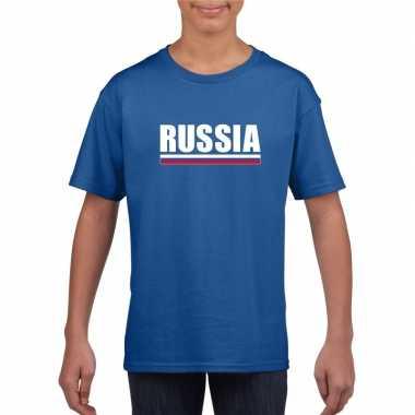 Russische supporter t shirt blauw kinderen