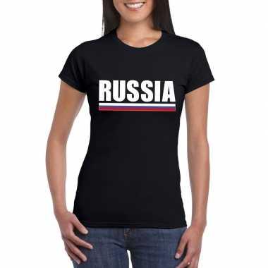 Russische supporter t shirt zwart dames