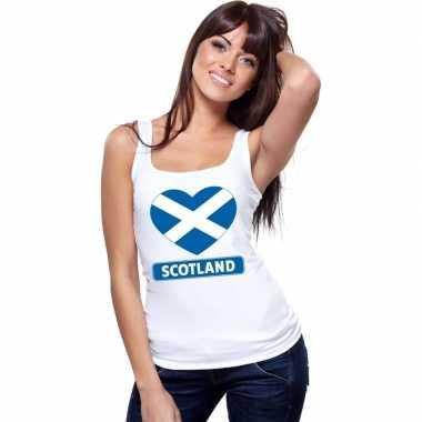 Schotland hart vlag mouwloos shirt wit dames