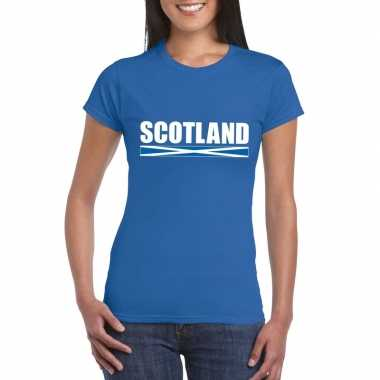 Schotse supporter t shirt blauw dames