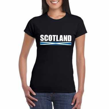 Schotse supporter t shirt zwart dames