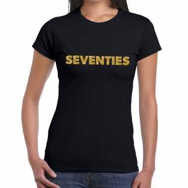 Seventies goud fun t shirt zwart dames