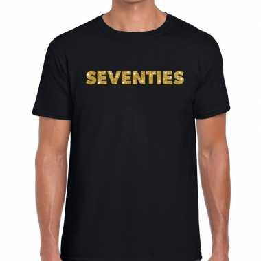 Seventies gouden letters fun t shirt zwart heren