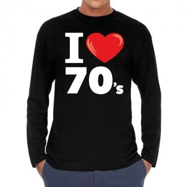 Seventies long sleeve shirt i love 70s bedrukking zwart heren