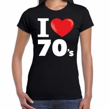 Seventies shirt i love 70s bedrukking zwart dames