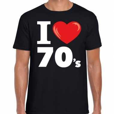 Seventies shirt i love 70s bedrukking zwart heren
