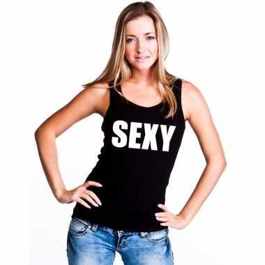Sexy mouwloos shirt zwart dames