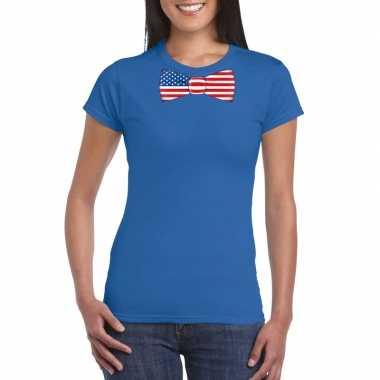 Shirt amerika strikje blauw dames