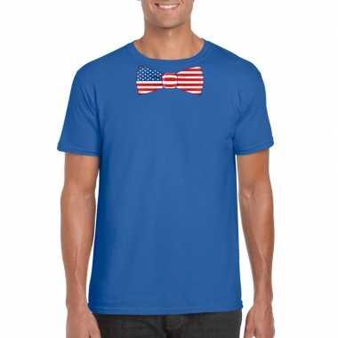 Shirt amerika strikje blauw heren