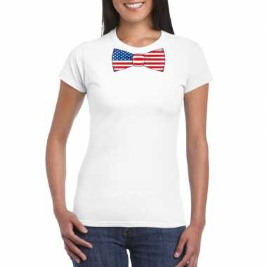 Shirt amerika strikje wit dames