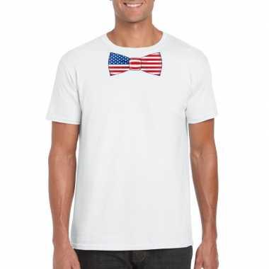 Shirt amerika strikje wit heren