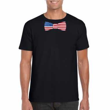 Shirt amerika strikje zwart heren