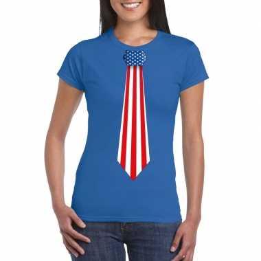 Shirt amerika stropdas blauw dames