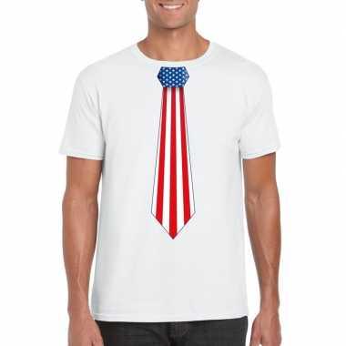 Shirt amerika stropdas wit heren