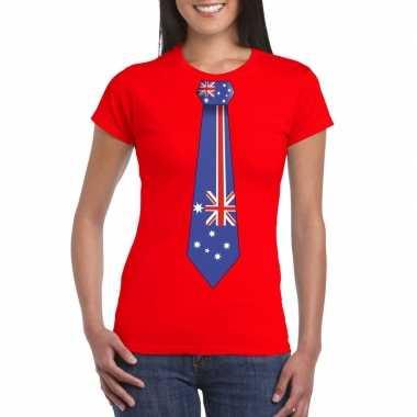 Shirt australie stropdas rood dames