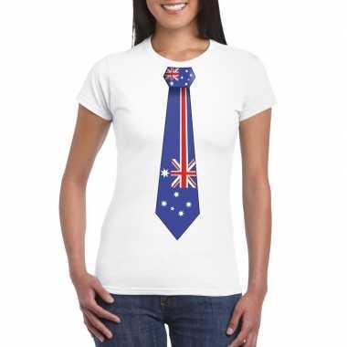 Shirt australie stropdas wit dames