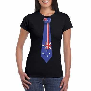 Shirt australie stropdas zwart dames