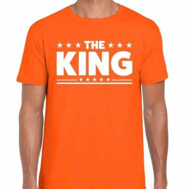 Shirt bedrukt the king oranje heren