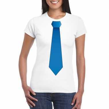 Shirt blauwe stropdas wit dames