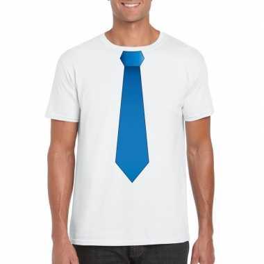 Shirt blauwe stropdas wit heren